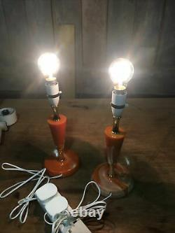 Pair of Vintage Orange Marble/Onyx Table Desk Lamp Lights Working No Shades 60s
