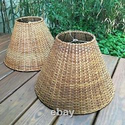 Pair of Vintage Rattan Lamp Shades 12 Tall Tapered Woven Wicker
