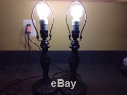 Pair of Vintage Tiffany Style Lamps With Stained Glass Shade