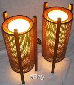 Pair vintage mid century danish wicker rattan tiki table lamps fiberglass shades