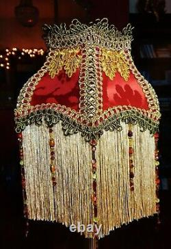 Parlour, Victorian Downton Beaded Lampshade. Spicy Garnet Red Silk 8