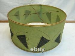 Pr Vintage Mid Century Modern Atomic Dk Avocado Green Fiberglass Lamp Shade Gold