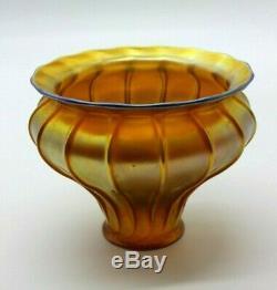 Quezal Original Vintage Art Glass Gold Iridescent Bell Lamp Shade Early 1900's
