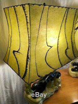 RARE 1950's VINTAGE PANTHER LAMP SET WORKING CERAMIC MID-CENTURY ORIG SHADES MCM