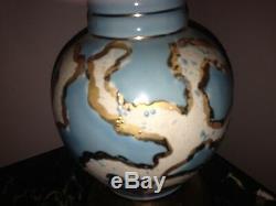 RARE! MID CENTURY MODERN BLUE GLAZED ATOMIC LAMP & shade Eames 50s 60s Vtg Table