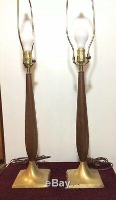 RARE Pair of Vintage Mid Century Modern Wood Brass Lamps 1960s without shade