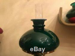 RARE Vintage Ceramic Porcelain Kerosene Oil Lamp BEAUTIFUL Green Glass Shade