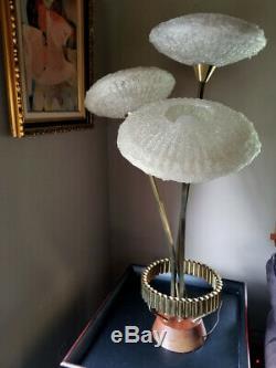RARE Vintage Mid Century Modern 3 Arm Spaghetti Lamp flying Saucer Shades UFO