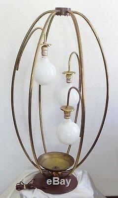 RARE Vintage Mid Century Modern Brass & Teak Wood 3 Arm / 3 Feet Tall Table Lamp