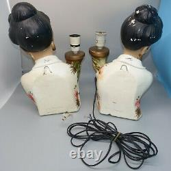 RARE Vintage Pair Oriental Lady Lamps & Ribbon Shades 1950s Tretchikoff Era MCM