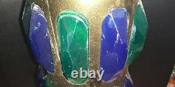 RARE Vintage Swag Hanging Lamp metal Lucite light Blue Green 60s 70's Retro