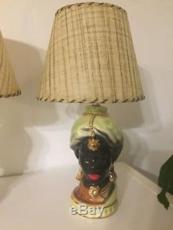 Rare Vtg Pair Of Blackamoor Mid Century Native Turban