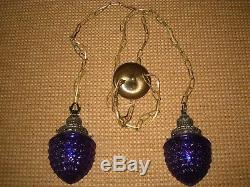 RESTORED Vintage PURPLE Glass Shades & Antique Brass Hanging Swag Lamp Lights