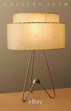 Rare! MID Century Modern Atomic Tripod Lamp 50s Fiberglass Shade Vtg Light Retro