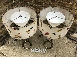 Rare Pair of Mid Century 50s Vintage Moss Lamp Shade Hairpin Legs Majestic Mcm