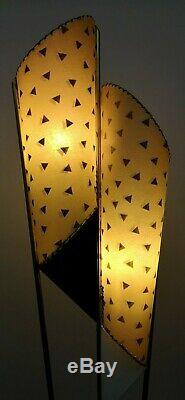 Rare STUNNING Vtg 1950s Retro ATOMIC Mcm MAJESTIC Floor LAMP withFiberglass SHADES