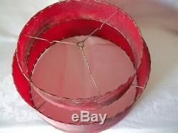 Rare Vintage 1950s RED Two Tier Fiberglass Lamp Shade Mid Century Modern Atomic