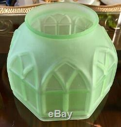 Rare Vintage Art Deco Green Uranium Vaseline Glass Lamp Shade