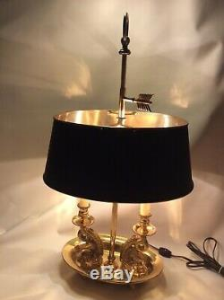 Rare Vintage Brass Bouillotte Desk Lamp- Black Metal Shade KOI base double candl
