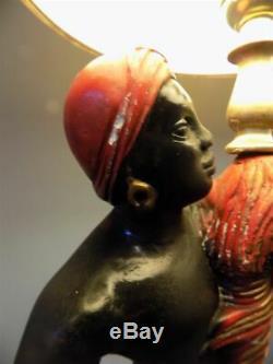 Rare Vintage Chalkware Black Americana Blackamoor Gennie Lamps With Lamp Shades