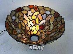 Rare Vintage Dale Tiffany Signed Agate Torchere Lamp Shade Floor Light Stone