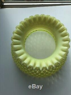 Rare Vintage Fenton Glass Yellow Topaz Opalescent Hobnail Student Lamp Shade