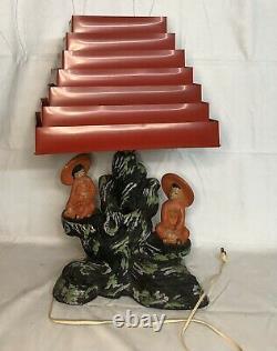 Rare Vintage MCM Silvestri Bros Oriental Asian Table Lamp Red Venetian Shade