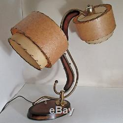 Rare Vtg MCM Majestic 2 Shades Boomerang Z Atomic Space Machine Age Table Lamp