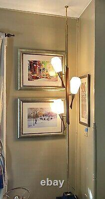 Rare Vtg Tension Pole Floor To Ceiling 3 Light Frosted Glass Lamp Shades Danish