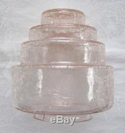 ReducedA Pair Of Vintage 1930s Art Deco pink Stepped glass lamp shades