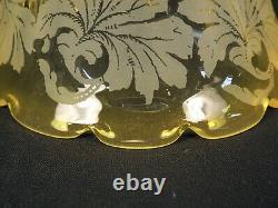 SET 4 Antique 1890s Yellow Edge Floral Etched Electric Lamp Shades 2-1/4 Fitter