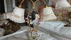 SHABBY ANTIQUE VTG PORCELAIN FLOWER ROSE french ORMOLU lamp MILLINERY SHADES