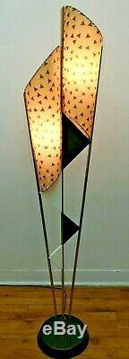 SUPERB Vtg 50s Retro ATOMIC Mcm MAJESTIC Era Floor LAMP #1/2 withAsymmetric SHADES