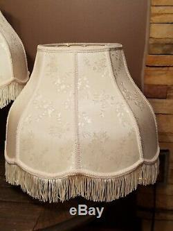Set 2 Vintage Cream Floral Victorian Fringe Lamp Light Shades
