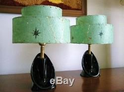 Set 3 Vintage 1950u0027s Mid Century Modern Lamps Turquoise Fiberglass Lamp  Shades