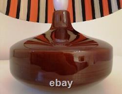 Stunning 52cm tall vintage 60s 70s glazed ceramic lamp base + ribbon shade