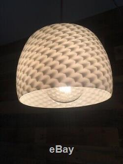 Stunning Rippled Op Art White Glass Ceiling Pendant Light Shade Retro 60's 70's