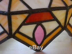Stunning Vintage Unusual Tiffany Style Leaded Stained Glass Lamp Light Shade