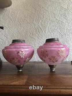 Stunning set /pair antique Victorian Cranberry 4 duplex oil lamp shade +font
