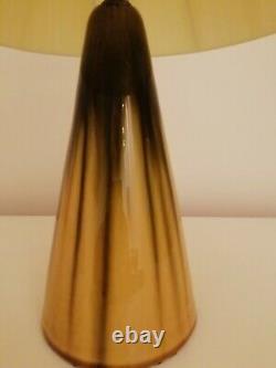 Stunning vintage 60s 70s drip glaze ceramic lamp base + plastic ribbon shade