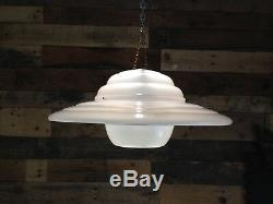 Super Retro Large 60s 70's Ribbed White Ufo Plastic Ceiling Light Lamp Shade MCM