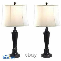 Table Lamp Set 2 Traditional Vintage Desk Lamps Pair Nightstand Bedroom Light