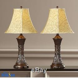 Table Lamp Set 2 Vintage Traditional Lamps Pair Shade Nightstand ...