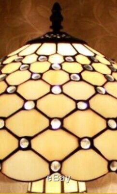 Tiffany Style Table Lamp Glass Base Stained Handcrafted Vintage Art Shade Light