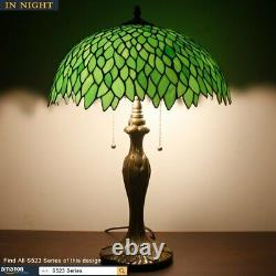 Tiffany Style Table Lamp Light Green Two Light Stained Glass Lampshade 24 Inch