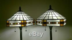 Tiffany-Style Vintage Pair Mission Stained Glass Shades / Black Metal Base Lamps