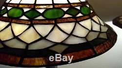 Tiffany-Style Vintage Pair of Geometric Stained Glass Shades / Metal Base Lamps