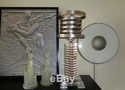 Time Travel c. 1940 Saturn Shade & Lucite Vintage Art Deco Machine Age Lamp