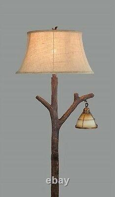 Tree Branch Floor Lamp Glass Lantern Night Light Rustic Cabin Lodge Decor 63.5