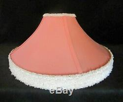 Two Vintage Reglor Deco Lamp Shades New Salmon Fabric Original Frames White Trim